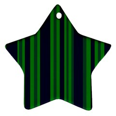 Dark Blue Green Striped Pattern Star Ornament (Two Sides)  by BrightVibesDesign