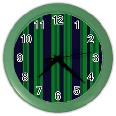 Dark Blue Green Striped Pattern Color Wall Clocks by BrightVibesDesign