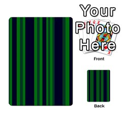 Dark Blue Green Striped Pattern Multi Purpose Cards (rectangle)