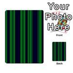 Dark Blue Green Striped Pattern Multi-purpose Cards (Rectangle)  Back 13