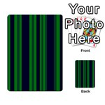 Dark Blue Green Striped Pattern Multi-purpose Cards (Rectangle)  Back 37