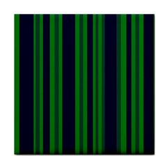 Dark Blue Green Striped Pattern Face Towel by BrightVibesDesign