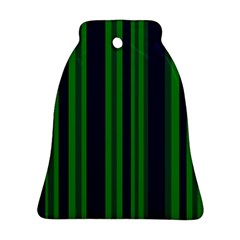 Dark Blue Green Striped Pattern Ornament (Bell)  by BrightVibesDesign