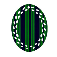 Dark Blue Green Striped Pattern Ornament (Oval Filigree)  by BrightVibesDesign