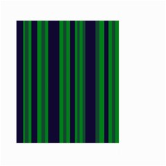 Dark Blue Green Striped Pattern Large Garden Flag (Two Sides) by BrightVibesDesign