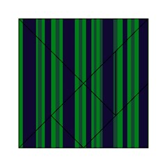 Dark Blue Green Striped Pattern Acrylic Tangram Puzzle (6  x 6 ) by BrightVibesDesign