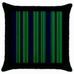Dark Blue Green Striped Pattern Throw Pillow Case (black) by BrightVibesDesign