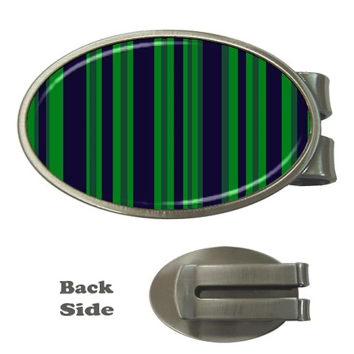 Dark Blue Green Striped Pattern Money Clips (Oval)