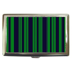 Dark Blue Green Striped Pattern Cigarette Money Cases by BrightVibesDesign