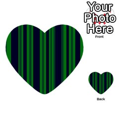 Dark Blue Green Striped Pattern Multi Purpose Cards (heart)  by BrightVibesDesign