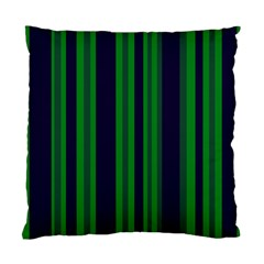 Dark Blue Green Striped Pattern Standard Cushion Case (one Side) by BrightVibesDesign