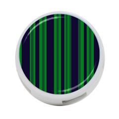 Dark Blue Green Striped Pattern 4-Port USB Hub (One Side) by BrightVibesDesign