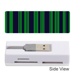Dark Blue Green Striped Pattern Memory Card Reader (Stick)  by BrightVibesDesign