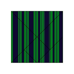 Dark Blue Green Striped Pattern Acrylic Tangram Puzzle (4  x 4 ) by BrightVibesDesign