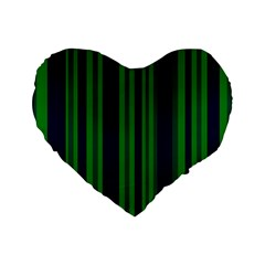 Dark Blue Green Striped Pattern Standard 16  Premium Heart Shape Cushions by BrightVibesDesign