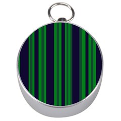 Dark Blue Green Striped Pattern Silver Compasses by BrightVibesDesign