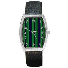 Dark Blue Green Striped Pattern Barrel Style Metal Watch by BrightVibesDesign