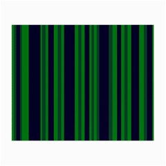 Dark Blue Green Striped Pattern Small Glasses Cloth (2-Side) by BrightVibesDesign