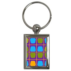 Shapes In Squares Pattern key Chain (rectangle) by LalyLauraFLM