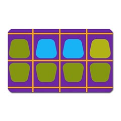Shapes In Squares Pattern magnet (rectangular) by LalyLauraFLM