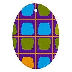 Shapes In Squares Pattern ornament (oval) by LalyLauraFLM