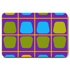 Shapes In Squares Pattern large Doormat by LalyLauraFLM