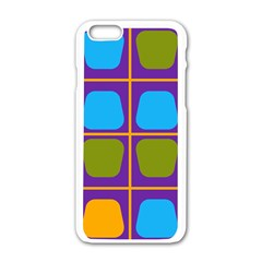 Shapes In Squares Pattern 			apple Iphone 6/6s White Enamel Case by LalyLauraFLM