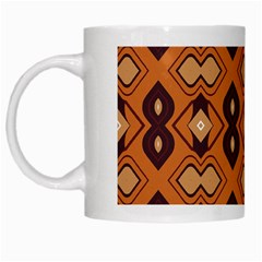 Brown Leaves Pattern White Mug