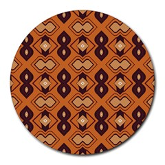 Brown leaves pattern 			Round Mousepad by LalyLauraFLM