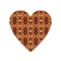 Brown Leaves Pattern magnet (heart) by LalyLauraFLM