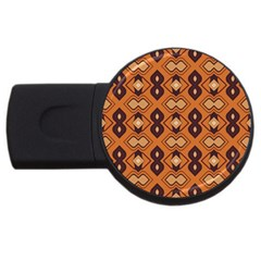 Brown Leaves Pattern 			usb Flash Drive Round (2 Gb) by LalyLauraFLM