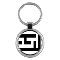 Black And White Key Chains (round)  by timelessartoncanvas