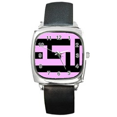 Black And Pink Square Metal Watch by timelessartoncanvas