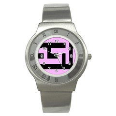Black And Pink Stainless Steel Watch by timelessartoncanvas