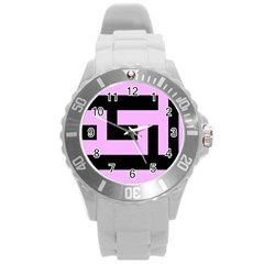 Black And Pink Round Plastic Sport Watch (l) by timelessartoncanvas
