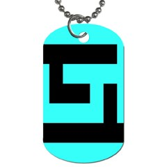 Black And Teal Dog Tag (two Sides) by timelessartoncanvas