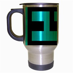 Black And Teal Travel Mug (silver Gray) by timelessartoncanvas