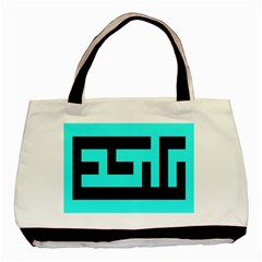 Black And Teal Basic Tote Bag by timelessartoncanvas