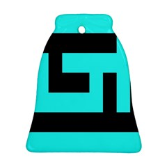 Black And Teal Bell Ornament (2 Sides) by timelessartoncanvas
