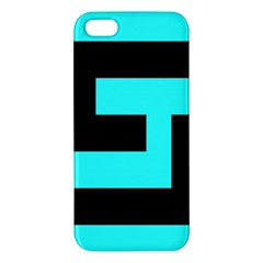 Black And Teal Apple Iphone 5 Premium Hardshell Case by timelessartoncanvas