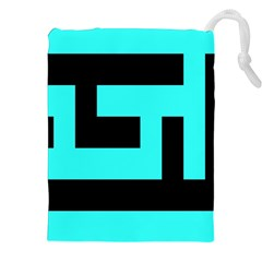Black And Teal Drawstring Pouches (xxl)
