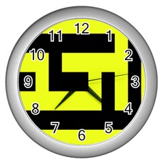 Black And Yellow Wall Clocks (silver)  by timelessartoncanvas