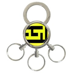 Black and Yellow 3-Ring Key Chains by timelessartoncanvas
