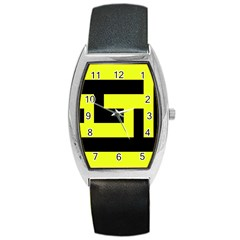 Black And Yellow Barrel Style Metal Watch by timelessartoncanvas