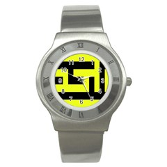 Black And Yellow Stainless Steel Watch by timelessartoncanvas