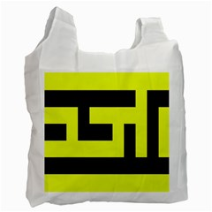 Black And Yellow Recycle Bag (two Side)  by timelessartoncanvas