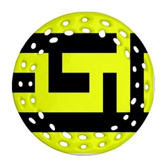 Black And Yellow Ornament (round Filigree)  by timelessartoncanvas