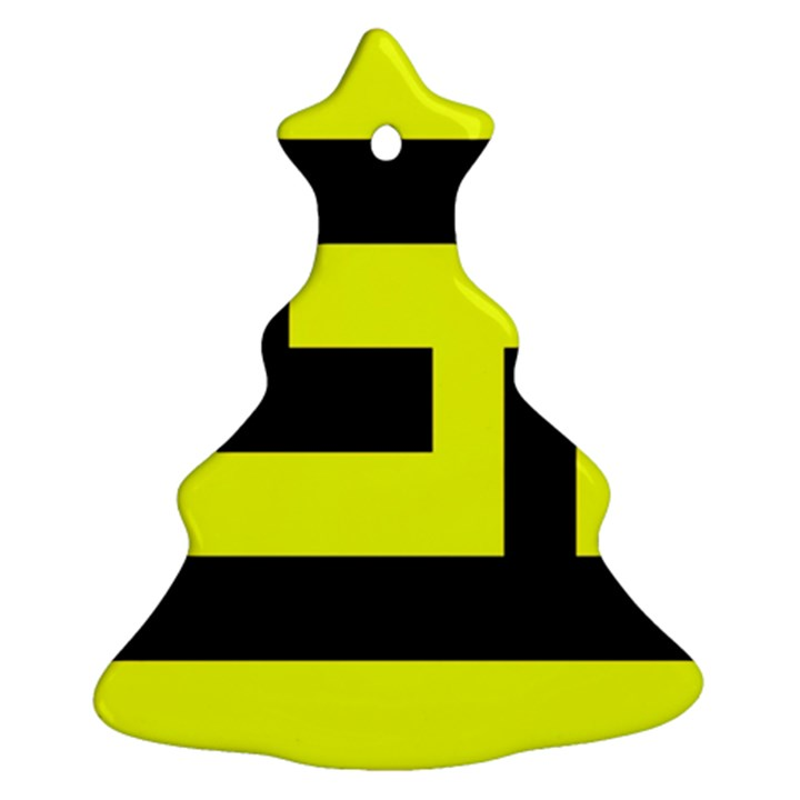 Black and Yellow Christmas Tree Ornament (2 Sides)