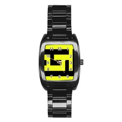 Black And Yellow Stainless Steel Barrel Watch by timelessartoncanvas