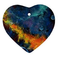 Space Balls Ornament (heart)  by timelessartoncanvas